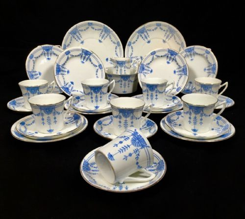 Victorian Blue & White Tea Set For 8 People / Bone China / Afternoon Tea / Trio